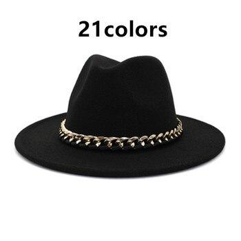 fedora hats black khaki Wide Brim Men Women hat Jazz caps Church felted chain belt cowboy casual luxury winter women hats new