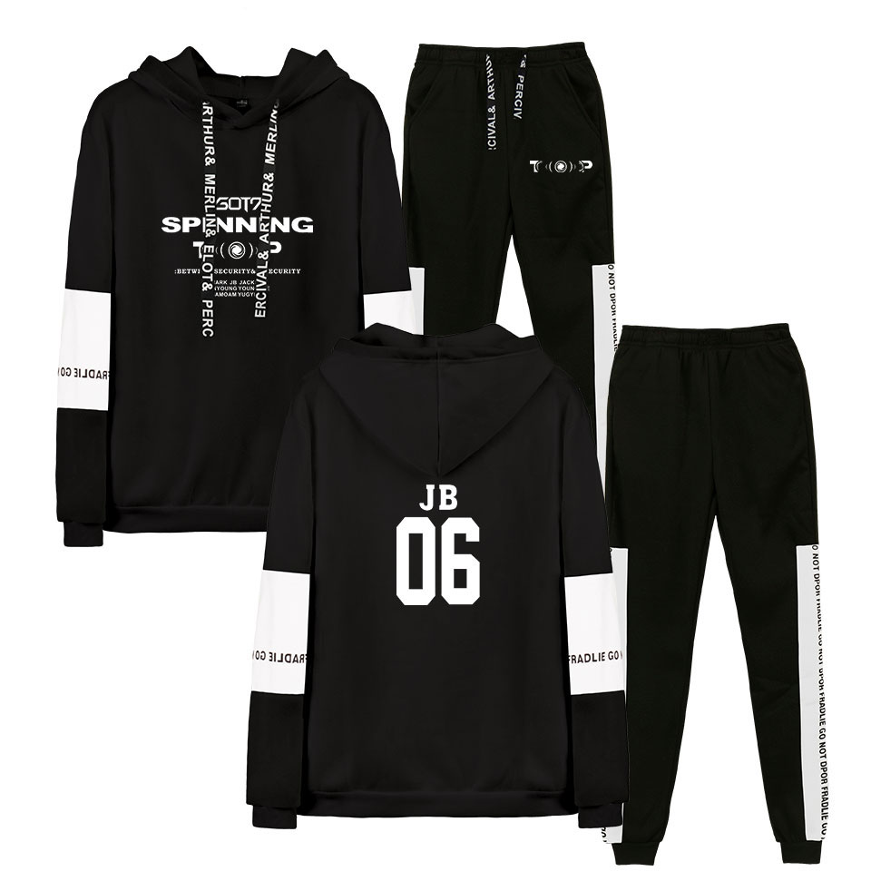 Korea Hip Hop Group GOT7 2D Design Hoodie Men Hoodie Sweatshirt Black Men's Suit Long Sleeve Sweatshirt Hoodie Men Set