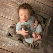Macacão recém nascido fotografia adereços, fio de vison bodysuit para bebê fotografia adereços