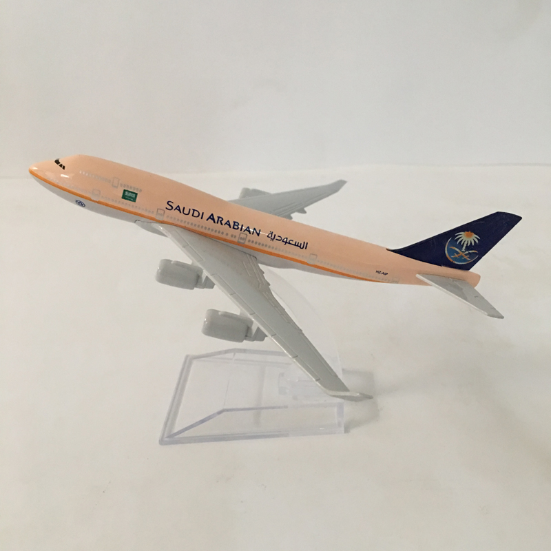 Free Shipping SAUDI ARABIAN Airlines Aeroplane Model Boeing 747 Airplane 16CM Metal Alloy Diecast 1:400 Airplane Model Toy MX39