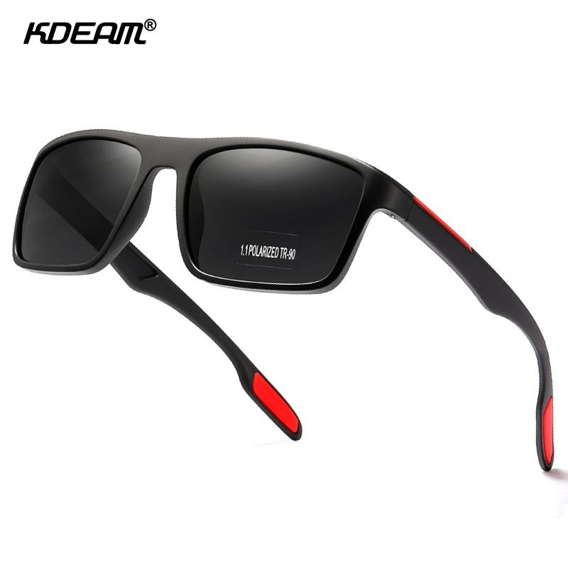 KDEAM Rectangular Ultra Light TR90 Sunglasses Men Polarized TAC 1.1mm Thickness Lens Driving Sun Glasses Women Sports Cat.3 2