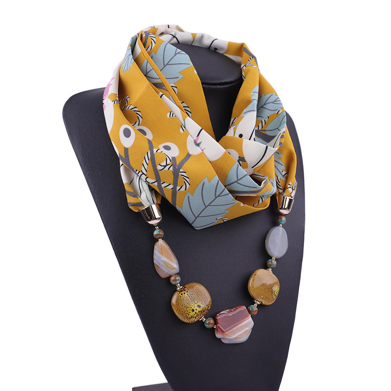 2019 Women's Winter Scarf Statement Jewelry Diamonds Pendant Necklace Scarf Women Print Chiffon Scarves Foulard Femme
