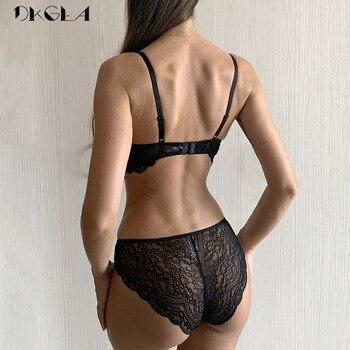 Classic Bandage Black Bra Set Push Up Brassiere Thick Cotton Underwear Set Sexy Bras Lace Embroidery Gather Women Lingerie Sets 2