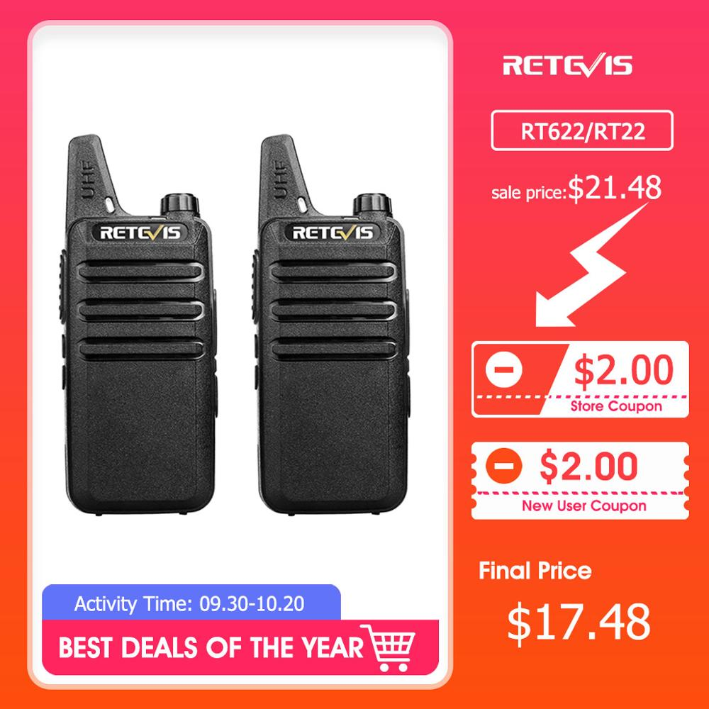 Walkie-Talkie Two-Way radio Retevis Rt622 PMR446 Mini Handy RT22 FRS Usb-Charge 2pcs