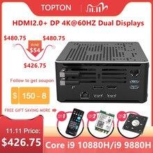 Topton 2Lan משחקי מיני מחשב Core i9 10880H i7 10750H Xeon E 2286M 2 * DDR4 M.2 NVMe Windows 10 לינוקס מחשב 4K HTPC HDMI DP WiFi