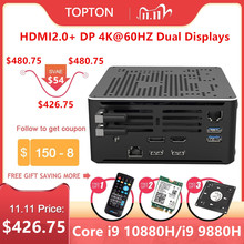 Topton 2Lan Gaming Mini PC Core i9 10880H i7 10750H Xeon E 2286M 2*DDR4 M.2 NVMe Windows 10 Linux Computer 4K HTPC HDMI DP WiFi