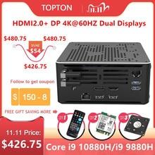 Topton 2Lanゲームミニpcコアi9 10880h i7 10750h xeon E 2286M 2 * DDR4 M.2 nvme windows 10 linuxコンピュータ4 18k htpc hdmi dp無線lan