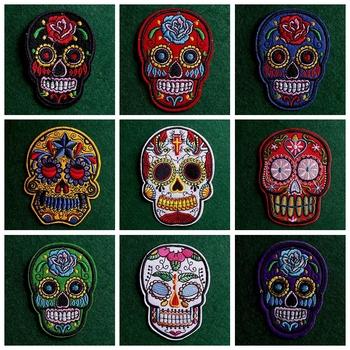 2 sztuk partia meksykański styl czaszka łatka żelazko na plastry na ubrania Punk łatki na ubrania naklejki hafty Patch paski odznaki tanie i dobre opinie CN (pochodzenie) As Picture HANDMADE Przyjazne dla środowiska PRINTED Do przyprasowania parches ropa Patches For Clothing