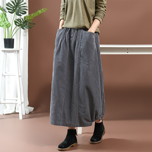 Image 3 - נשים חצאית סתיו חורף גודל גדול ארוך קורדרוי חצאית 2019 חדש נשי אלסטי מותניים כיס רטרו מקרית Loose חצאית מורי ילדה