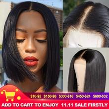 "Unice Hair 13*4/6 Lace Front Human Hair Wigs 8 14"" Straight Short Blunt Cut Bob For Black Women Deep Part Short Brazilian Wigs"