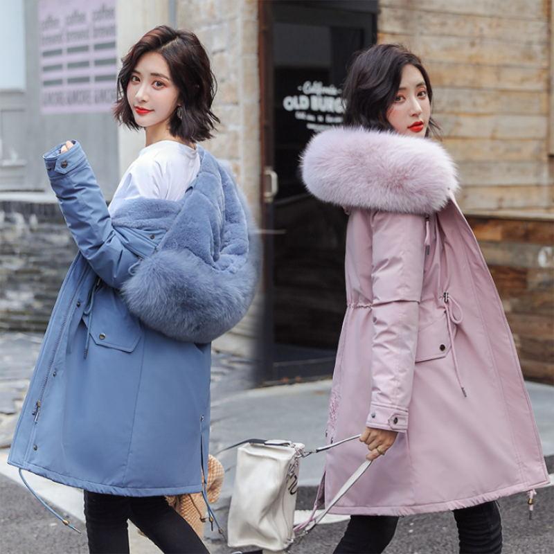 Зимние парки 2019 зима 30 градусов женские парки пальто с капюшоном меховой воротник толстая секция теплые зимние куртки зимнее пальто куртка - 2
