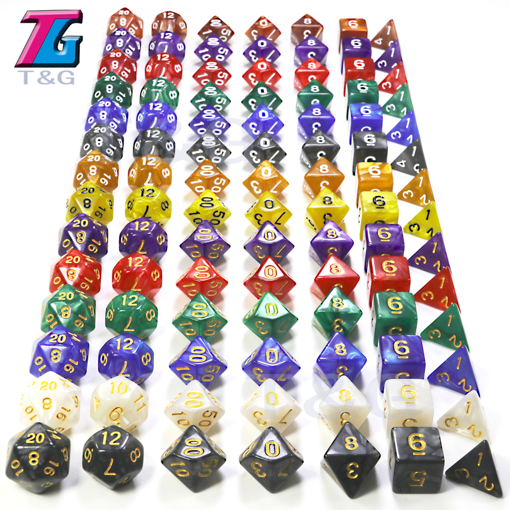 D&D 7Pcs/Set  T&G Polyhedral  RPG Games Dice With Marble Effect  D4-D20 Multi Sides For Board Game Ludo