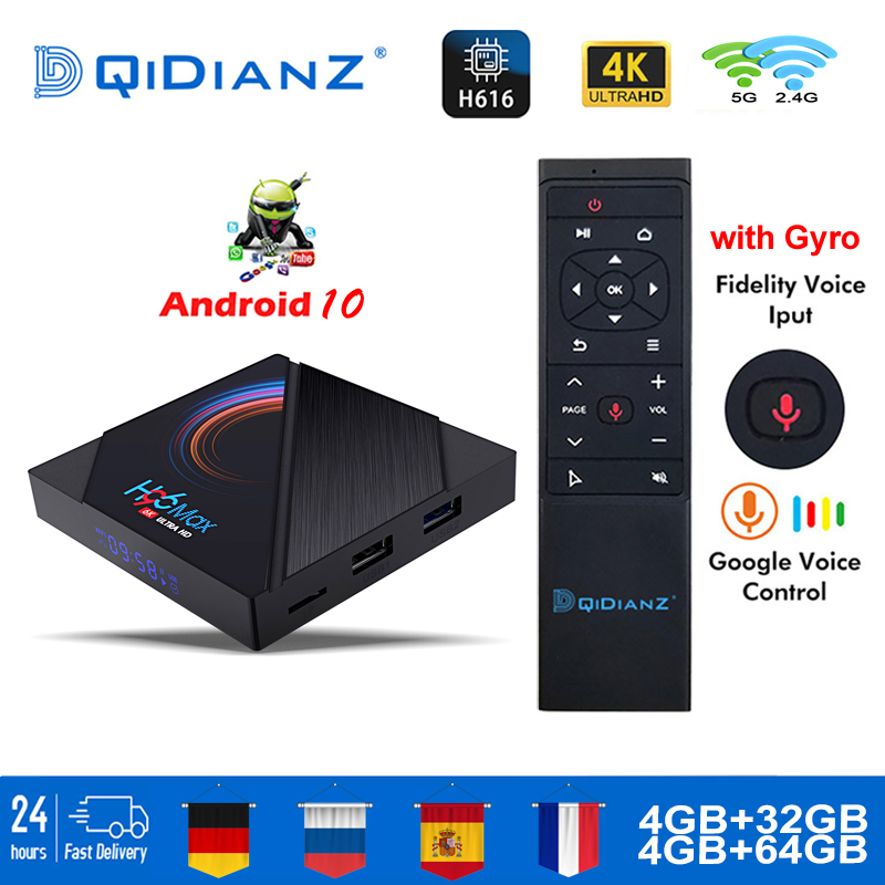 H96 Max H616 Smart TV Box Android 10 4 Гб RAM 64 Гб 1080p 4K BT Android Tv Box Set медиаплеер H96max