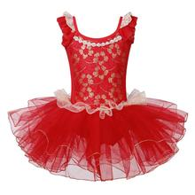 BAOHULU Girls Ballet Dance Tutu Dress Oriental Element Leotard Performance Gymnastics Leotard Red Color for 3~7 Years Ballerina