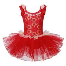 BAOHULU Meisjes Ballet Dans Tutu Jurk Oosterse Element Turnpakje Prestaties Gymnastiek Turnpakje Rode Kleur voor 3 ~ 7 Jaar Ballerina