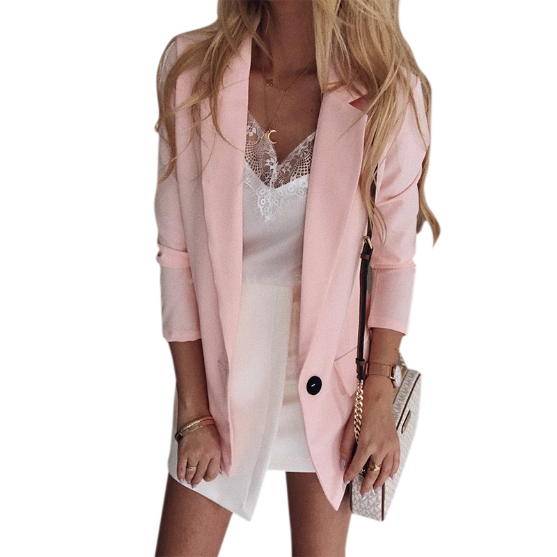 Blazer For Women's Solid Color Treasure Thin Section Long Suit Jacket A Button Cardigan