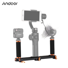Andoer Dual Handheld Grip Bracket Kit Double Hot Shoes Gimbal 1/4 Inch Screw Mounts Extended Handle for Zhiyun Feiyu Stabilizer