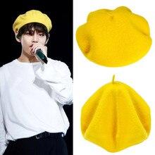 Корейские bangtan желтые мужские и женские осенние зимние береты фетровая шляпа кожаный Берет шерстяной берет шапки унисекс зимняя шапка с галстуками Kpop