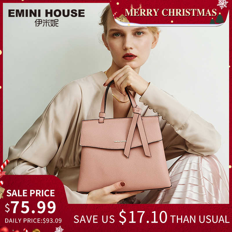 EMINI HOUSE 2 Sizes Bow Tie Luxury Handbags Women Bags Designer Litchi Grain Split Leather Shoulder Bag Crossbody Bags For Women