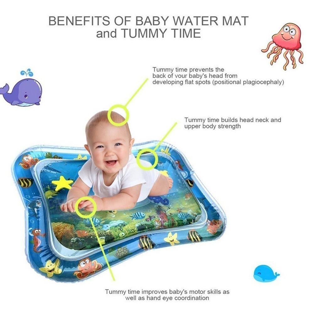 Baby Inflatable Patted Pad Baby Inflatable Water Cushion Prostrate Water Cushion Pat Pad Crawling Mat Game Pad Ocean Fish