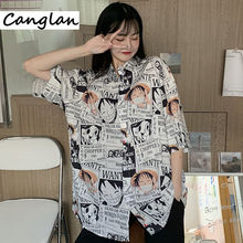 Summer Blouse for Women Ladies Girl Button Up Shirt Japanese Anime One Piece Monkey D Luffy Manga Clothing Harajuku Clothes Top