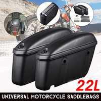 Pair 22L Motorcycle Saddle Bag Trunk Case Side Luggage Box Saddlebags For Suzuki/Yamaha/Honda