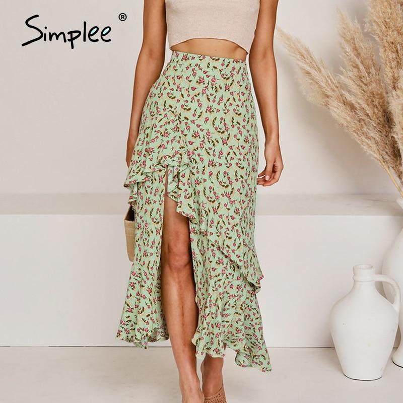 Simplee Bohemian Floral Print Summer Skirt Women High Waist Ruffled High Split Female Midi Skirt A-line Beach Wear Ladies Skirts
