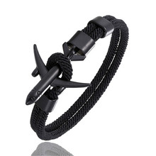 Fashion Bracelets Woman 2019 Airplane Anchor Bracelet Charm Rope Chain Paracord Bracelet Men Women Air Force Style Sport Armband(China)