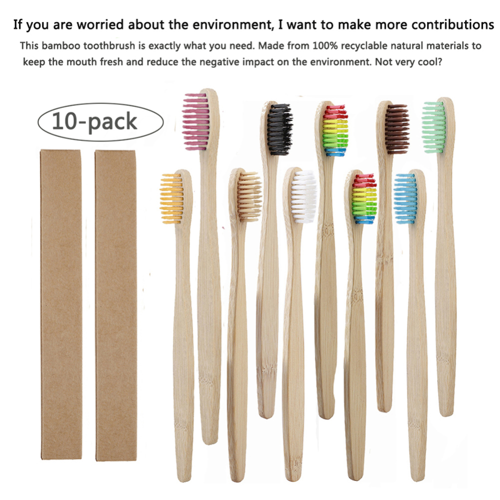 10pcs/set  Bamboo Tooth Brushes Soft Bristles Oral Care Toothbrush Protect Gums Eco-friendly Brushes For Adult Logo Customize