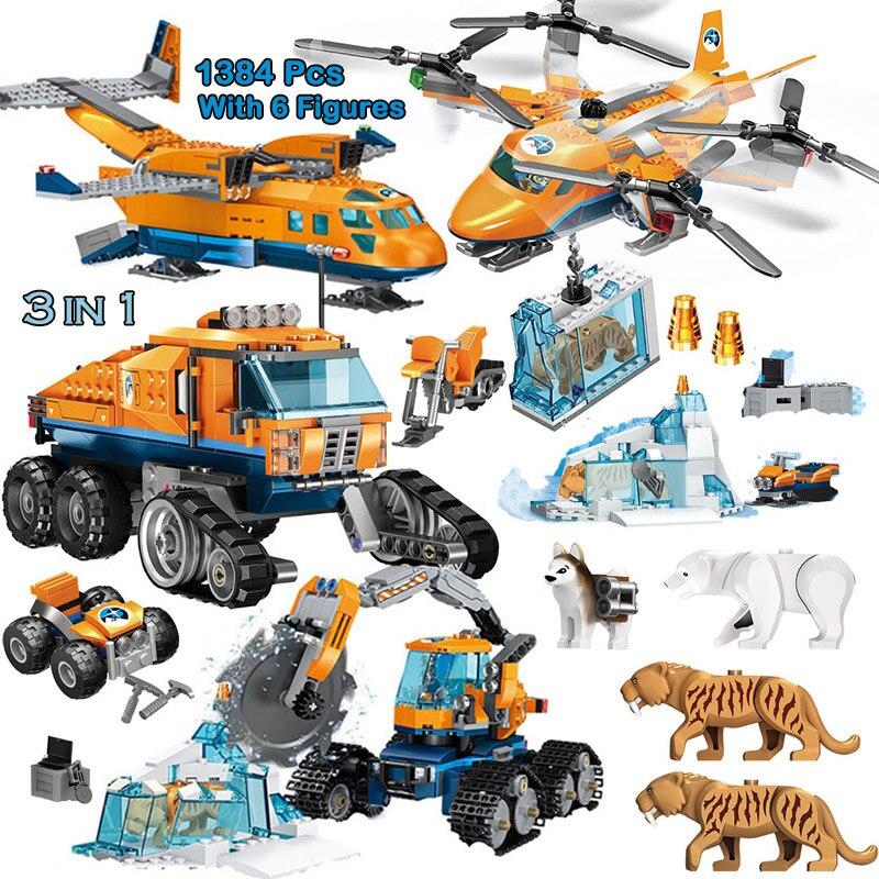 1088pcs Creator City Building Blocks Compatible Legoinglys Arctic Scout Truck Air Transport Supply Model Bricks Toy For Children