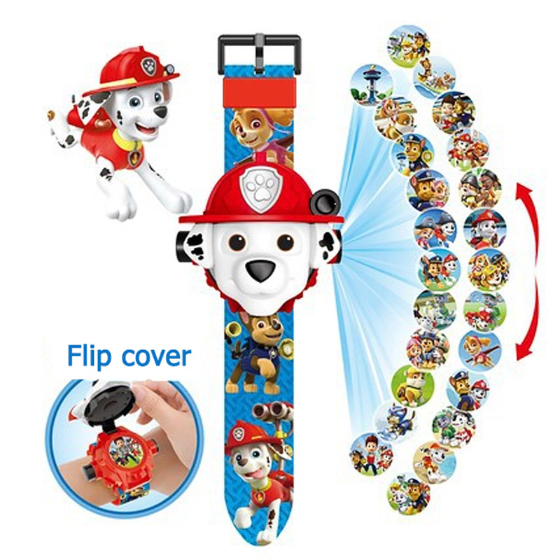 Paw Patrol Puppy Patrol Rubble Chase Marshall Digital Watch Projection 24 Style Cartoon Clock Patrulla Canina Christmas Gift Toy