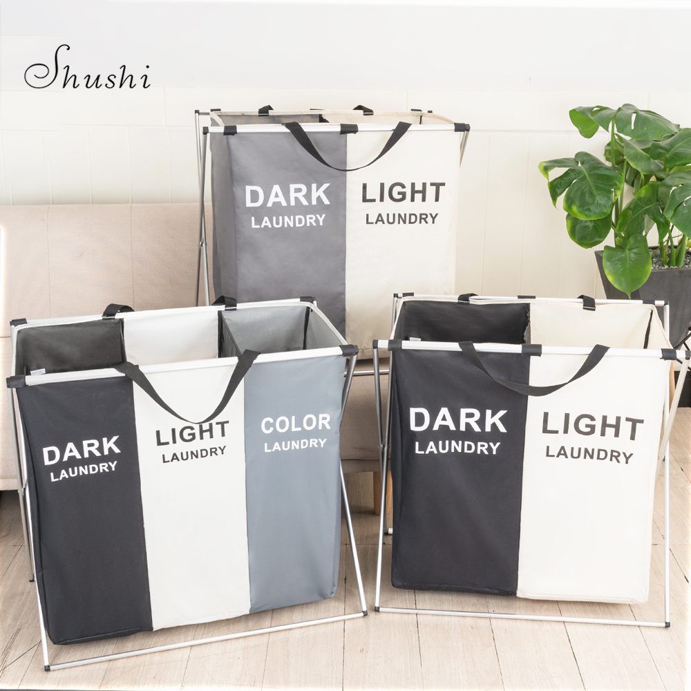 Shushi Foldable Dirty Laundry Basket Organizer Collapsible Three Grid Home Laundry Hamper Sorter Waterproof Laundry Basket Large-in Storage Baskets from Home & Garden