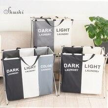 Shushi cesto para la ropa sucia plegable, tres rejillas cesta para la colada de casa, clasificador, resistente al agua, grande