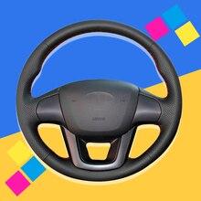 цена на Auto Braid On The Steering Wheel Cover for Kia K2 Rio 2011 2012 2013 2014 2015 2016 DIY Car Braiding Covers Interior Car-styling