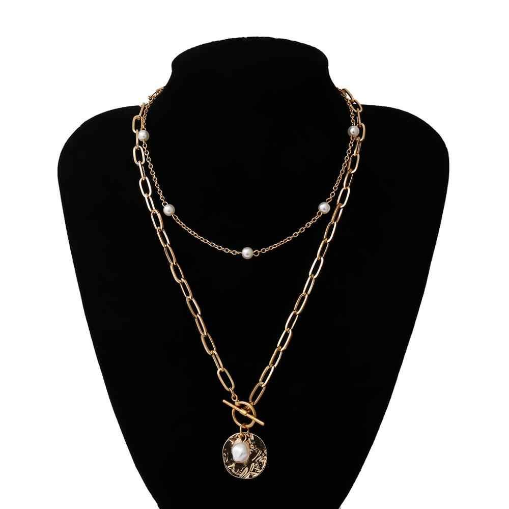 ゴシックバロック真珠コインのペンダントチョーカーネックレス結婚式パンクビーズラリアットゴールドカラーロングチェーンネックレスの宝石類のギフト