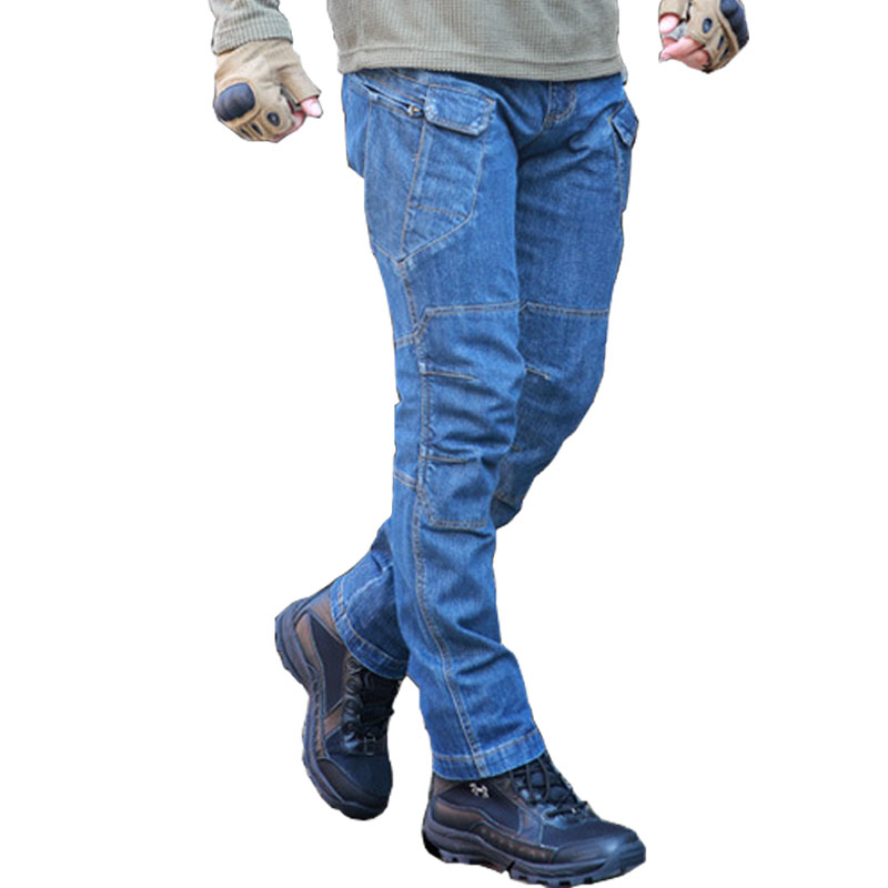 Mcikkny Men's Cargo Jeans Multi Pockets Tactical Denim Pants Male Military Outdoor Casual Jeans