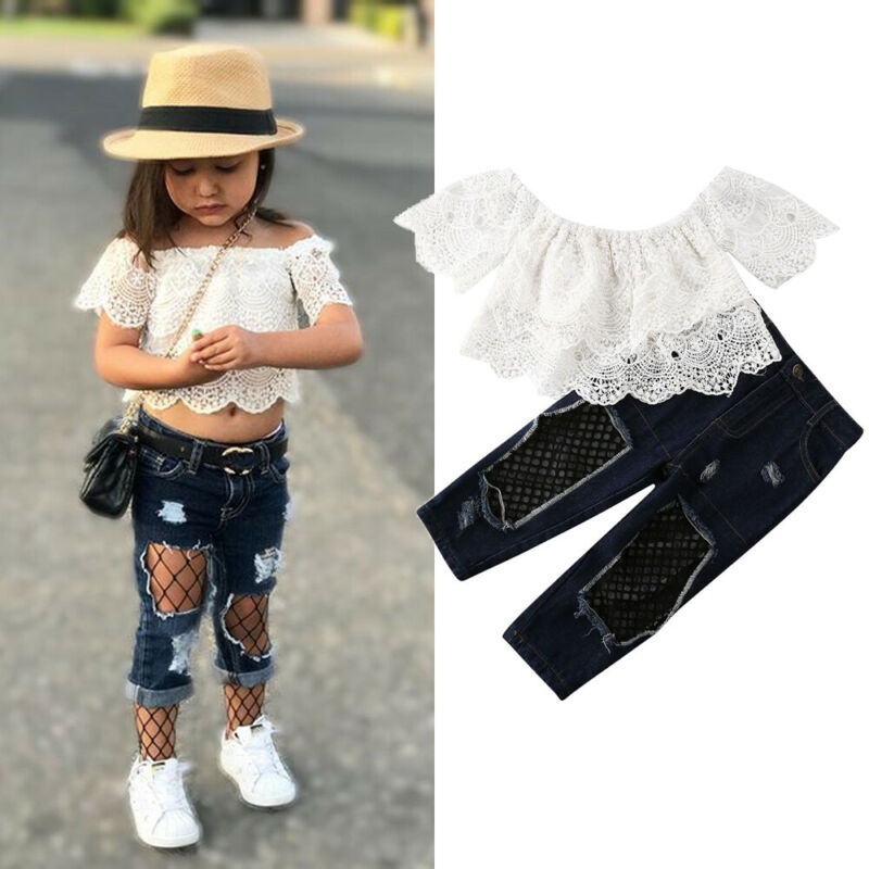 >Toddler Kids Baby Girl Off Shoulder <font><b>White</b></font> Lace Shirt Tops <font><b>Jeans</b></font> Pants 2PCS <font><b>Outfit</b></font> Clothes For Baby Girls