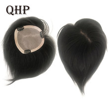 Hair Pieces Lace +PU Base Topper Toupee Women Human Hair 100% Natural Machine Made Remy Wig(China)
