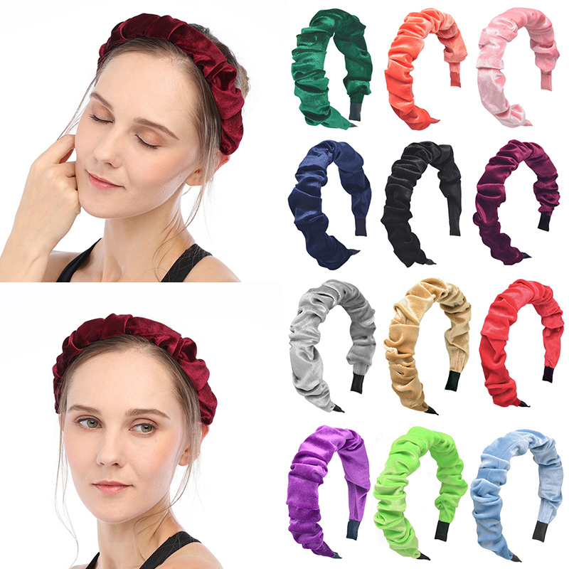 Solid Color Velvet Wide Headband Winter Ruched Head Hoop Women Hair Accessories Women Fashion Headband Hair Hoop Headbands