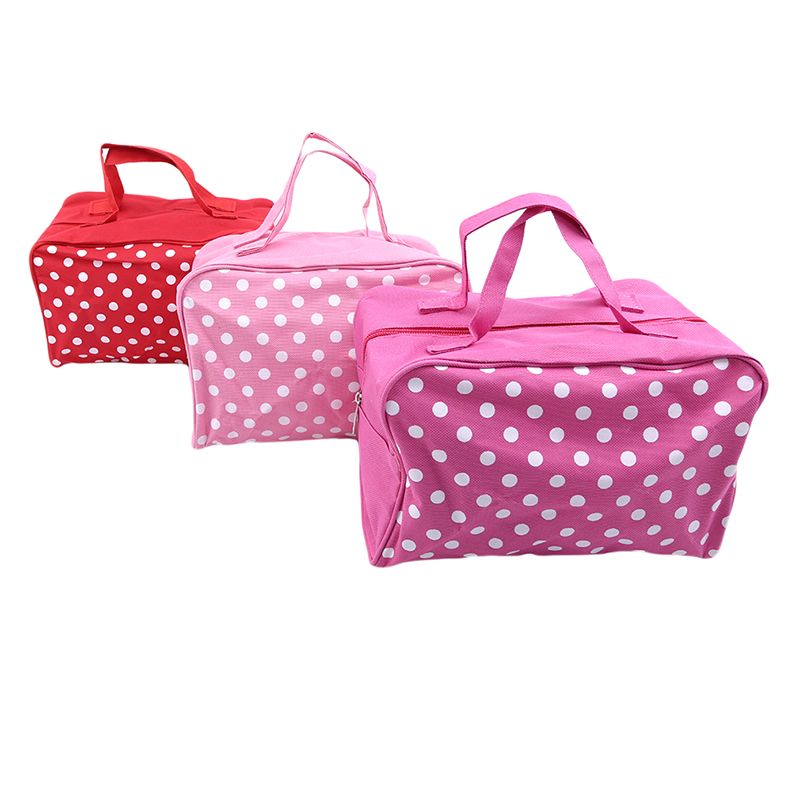 1PC Portable Waterproof Travel Cosmetics Bag Cosmetics Toiletries Storage Bag Cute Dot Oxford Cloth Makeup Sundries Storage Bag