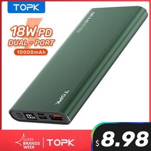TOPK Power Bank 10000 мАч портативное зарядное устройство LED Внешняя батарея PowerBank PD Двусторонняя Быстрая зарядка повербанк для iPhone Xiaomi mi