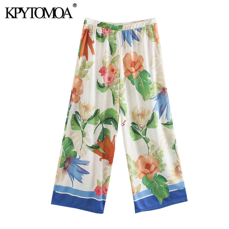 KPYTOMOA Women 2020 Chic Fashion Floral Print Straight Pants Vintage High Elastic Waist Cozy Female Ankle Trousers Pantalones