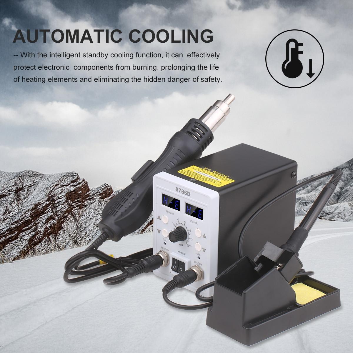 Digital Solder Station 2 in 1 Dual Display Air Blower Heat Gun Intelligent Detection Cool Air Welding Soldering Iron Repair Tool
