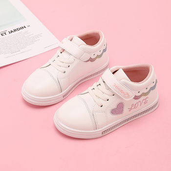 Girls Sport Shoes Fashion Love Letter Flat Sneakers Spring Autumn Children Baby Girl Student White STQ004