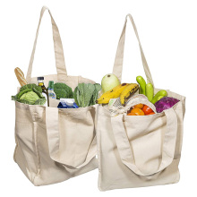 Reusable Grocery Washable & Eco-friendly Handle Bag Canvas Grocery Shopping Bags Cloth Tote Shopping Bags With Bottle Sleeves large shopping bag waterproof lightweight reusable grocery bags washable foldable shopping tote bags eco friendly shoulder bag
