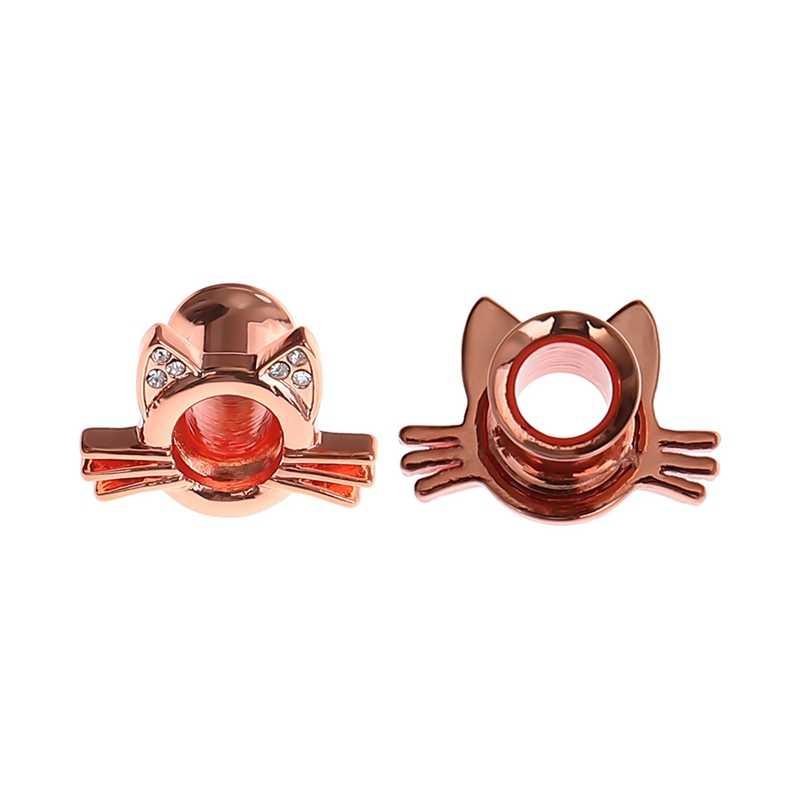 1PC חתול בורג אוזן מנהרות בשר מחוונים תקעים אלונקות Expander פירסינג חמוד פופולרי עגילים