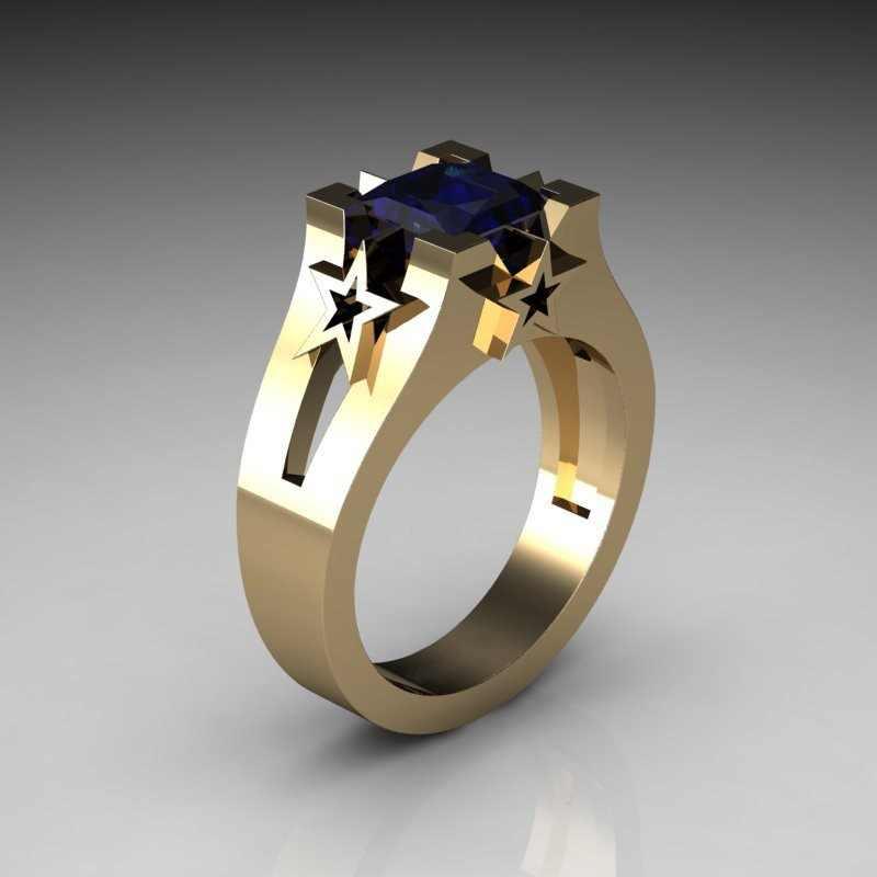 Европейский квадратный кристалл кольцо серебро 925 пробы, цвет розовое золото в виде геометрических фигур, голубого цвета со звездами кольца для мужчин и женщин Обручение кольцо ювелирные изделия