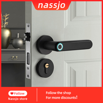 Nassjo Smart door lock With Biometric Fingerprint Lock Electronic door lock indoor for home office alloy Privacy protection oklar electronic door lock biometric fingerprint lock zinc alloy smart knob deadbolt keyless indoor lock for home hotel office