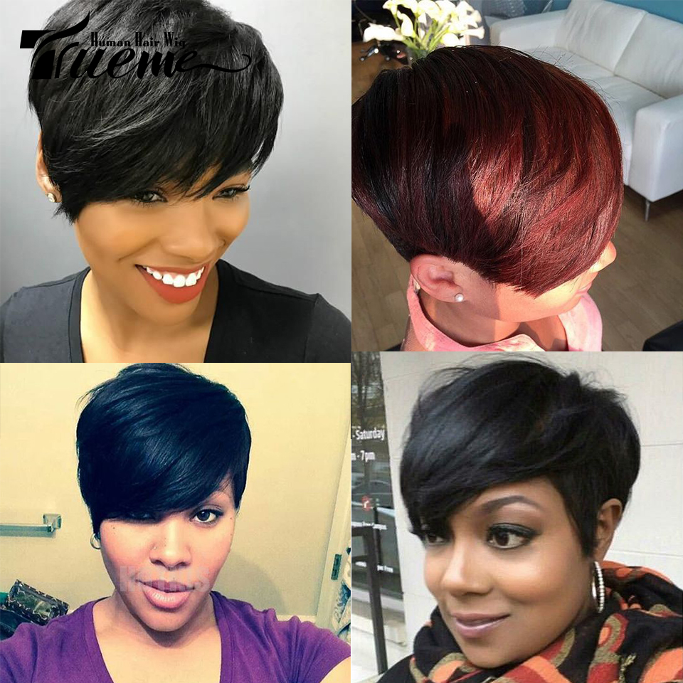 Trueme Short Pixie Cu Human Hair Wigs 100% Remy Brazilian Hair Wigs Fashion Ombre Red Green Blue Cheap Full Wigs For Women