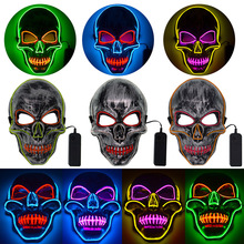 LED Mask Halloween Scary EL Wire Light Costume Party Masque Neon Maske Mascara Horror Mascarillas D30